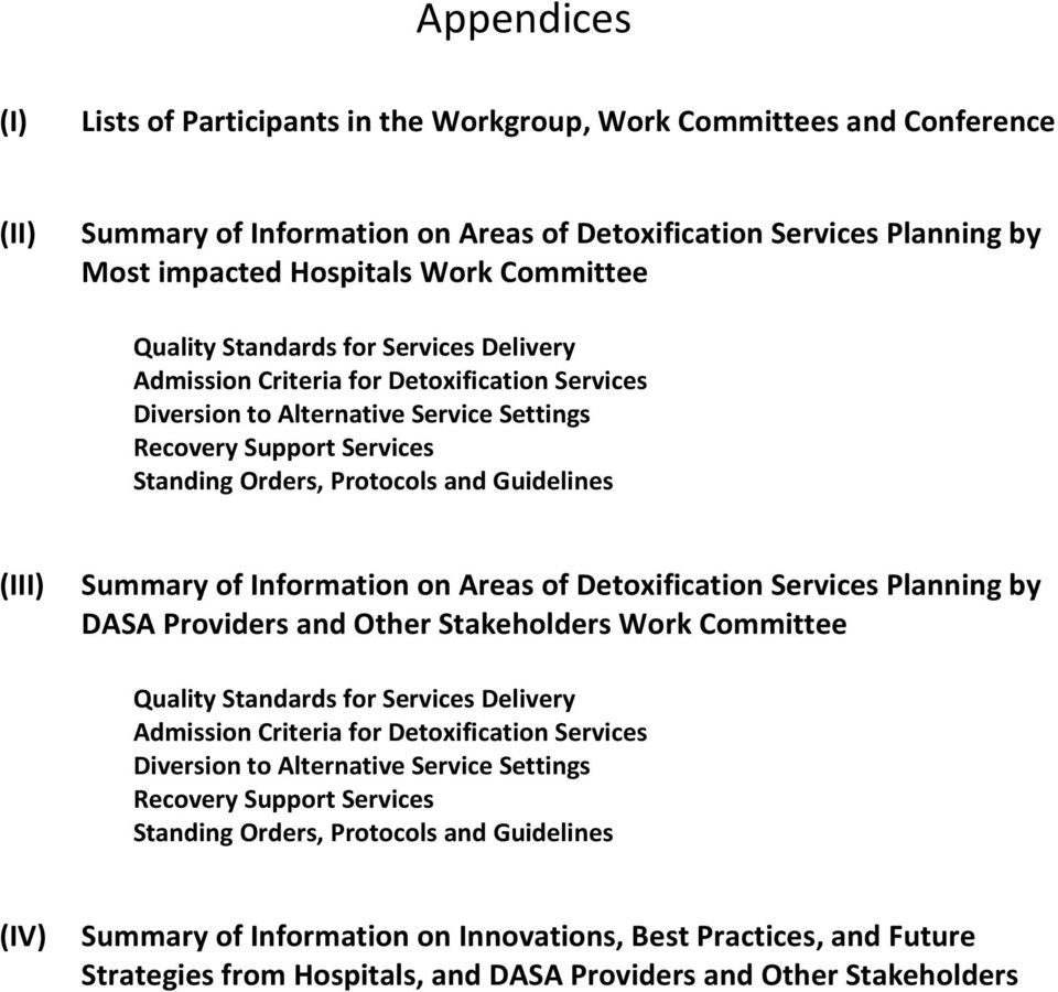 Guidelines (III) Summary of Information on Areas of Detoxification Services Planning by DASA Providers and Other Stakeholders Work  Guidelines (IV) Summary of Information on Innovations, Best