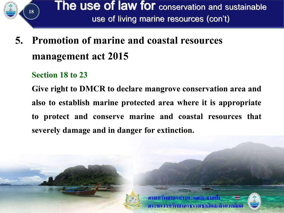 establish marine protected area where it is appropriate to protect and