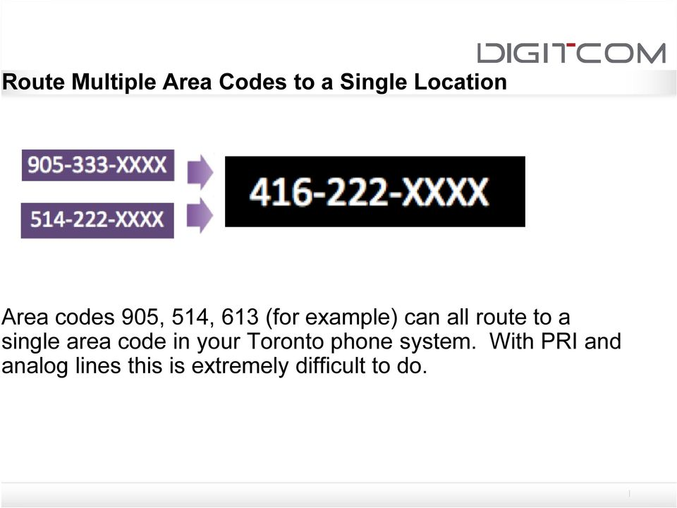 single area code in your Toronto phone system.