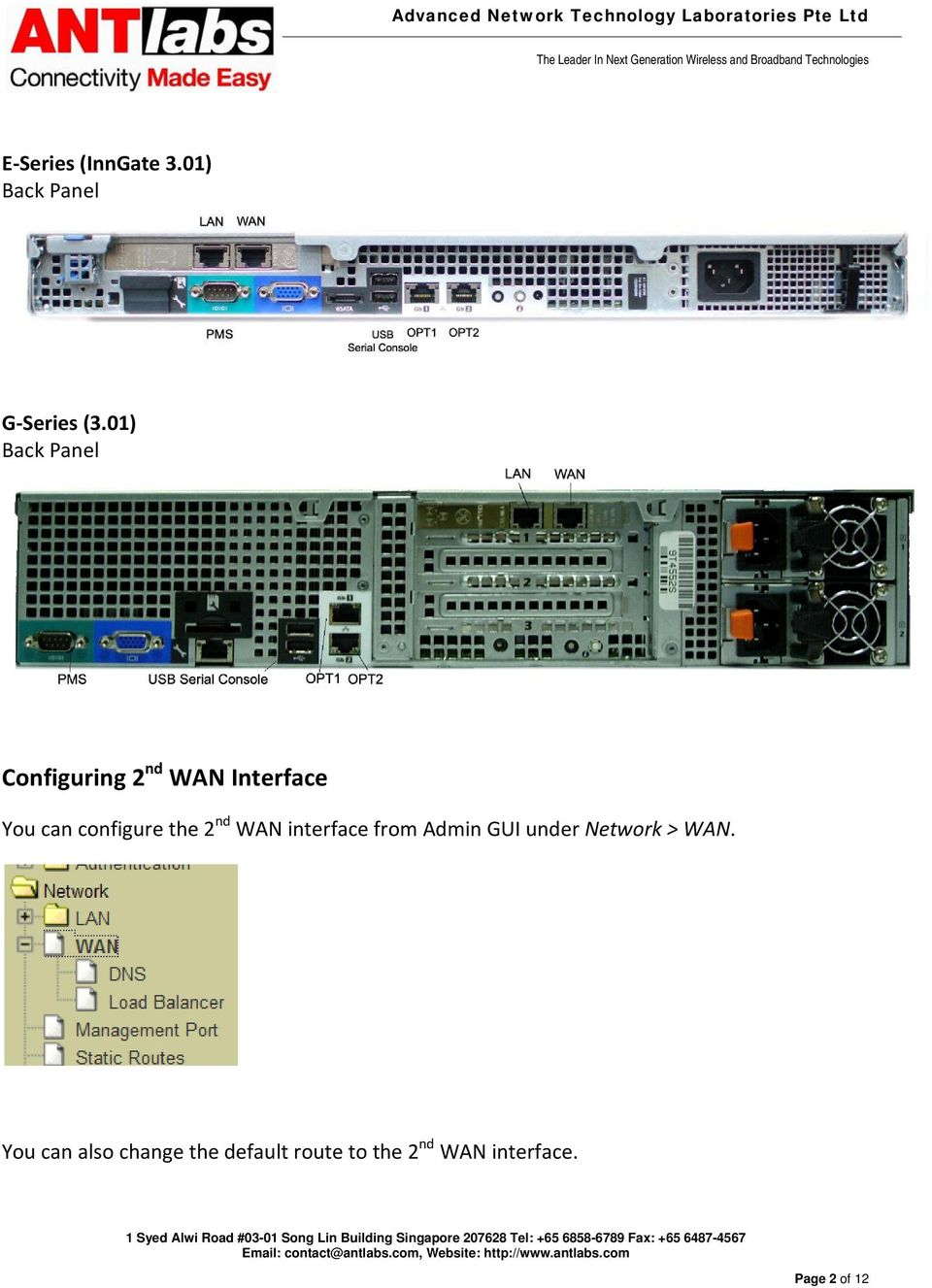 01) Back Panel Configuring 2nd WAN Interface You can configure the 2nd