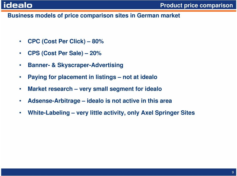 in listings not at idealo Market research very small segment for idealo Adsense-Arbitrage