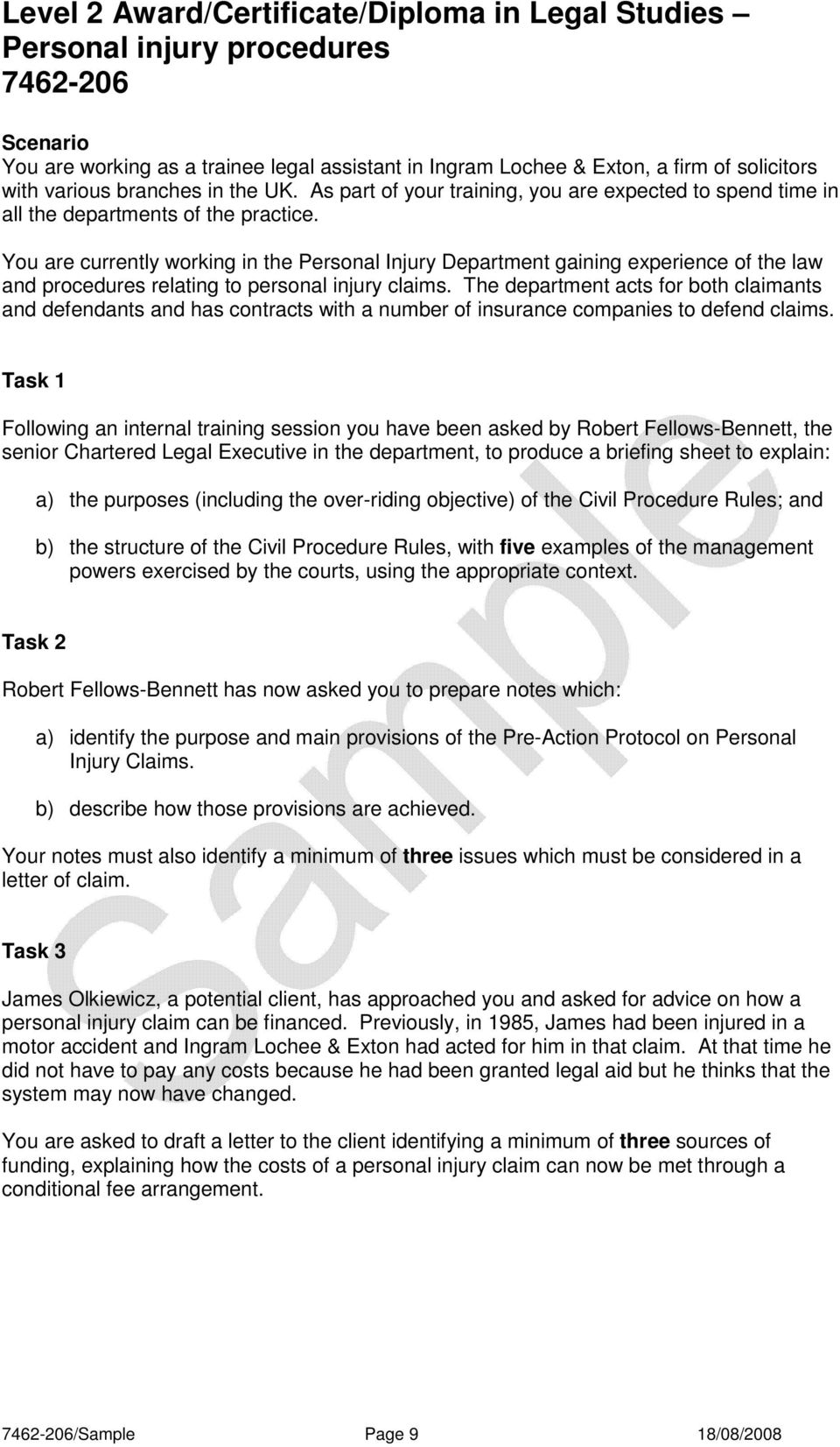 Level 2 award certificate diploma in legal studies for Pre action protocol letter template