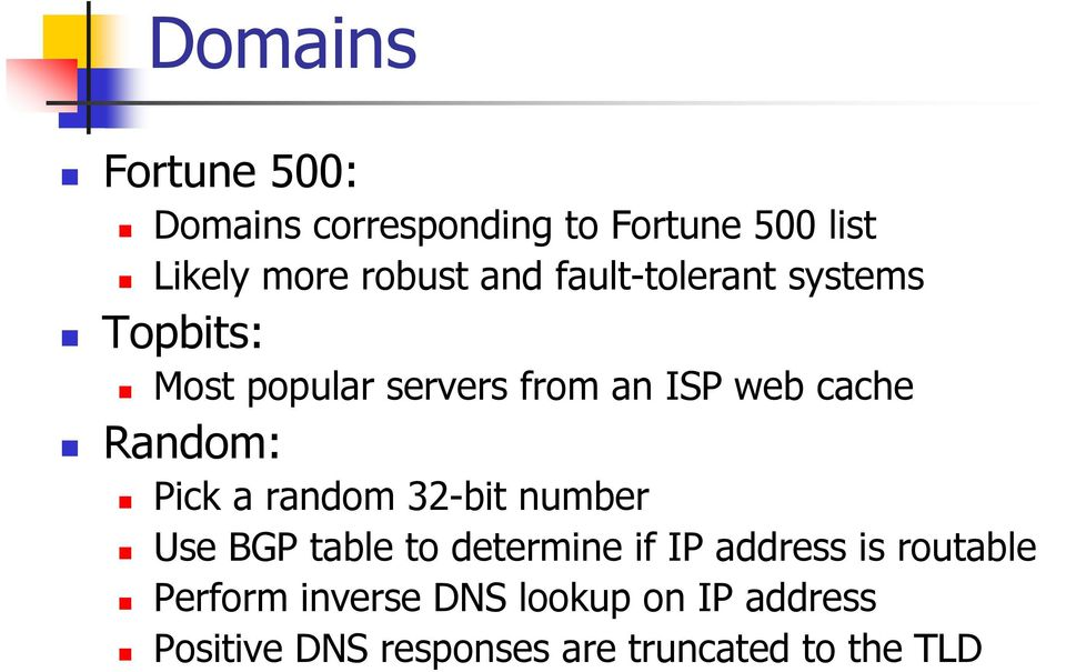 Random: Pick a random 32-bit number Use BGP table to determine if IP address is
