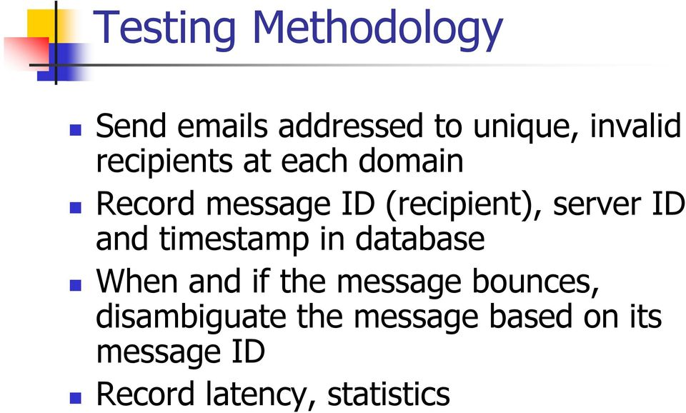 ID and timestamp in database When and if the message bounces,