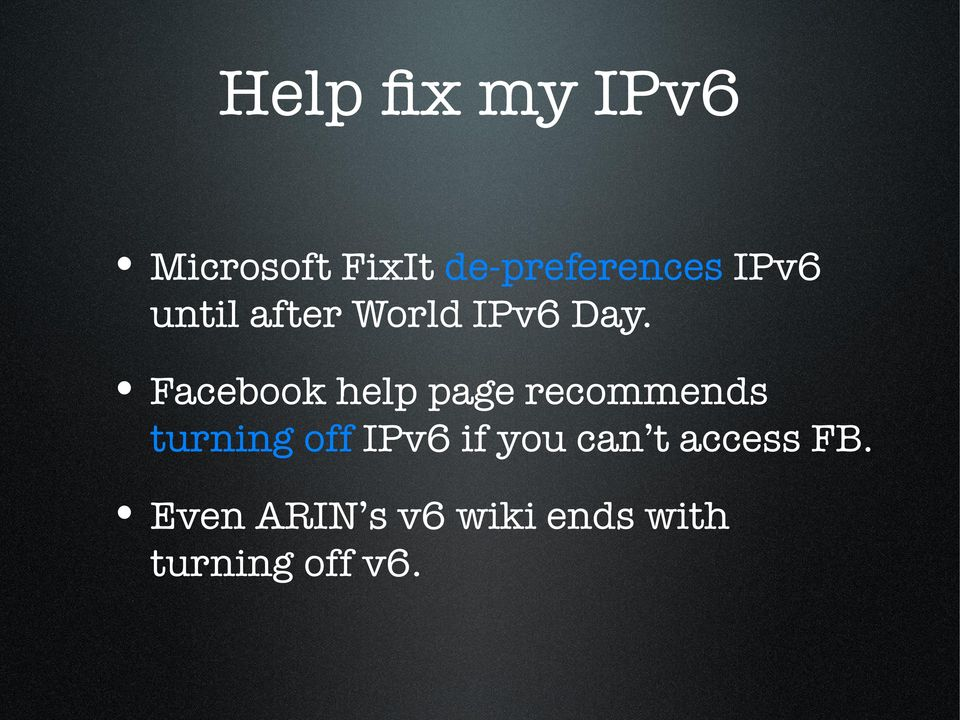 Facebook help page recommends turning off IPv6