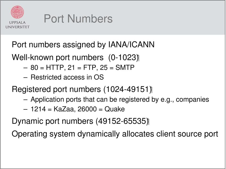 Application ports that can be regi