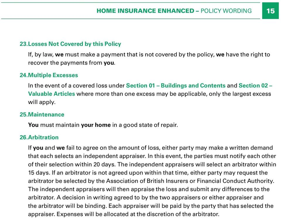 apply. 25.Maintenance You must maintain your home in a good state of repair. 26.
