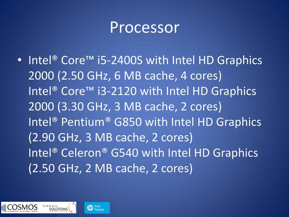 30 GHz, 3 MB cache, 2 cores) Intel Pentium G850 with Intel HD Graphics (2.