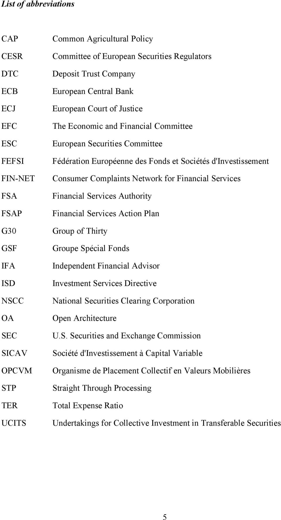 Consumer Complaints Network for Financial Services Financial Services Authority Financial Services Action Plan Group of Thirty Groupe Spécial Fonds Independent Financial Advisor Investment Services