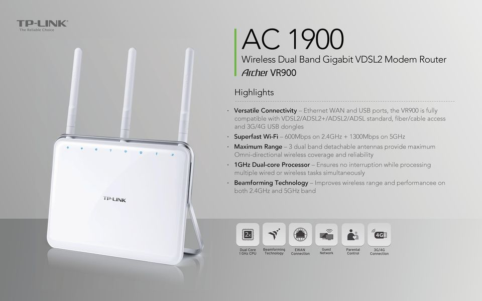 4GHz + 1300Mbps on 5GHz Maximum Range 3 dual band detachable antennas provide maximum Omni-directional wireless coverage and reliability 1GHz