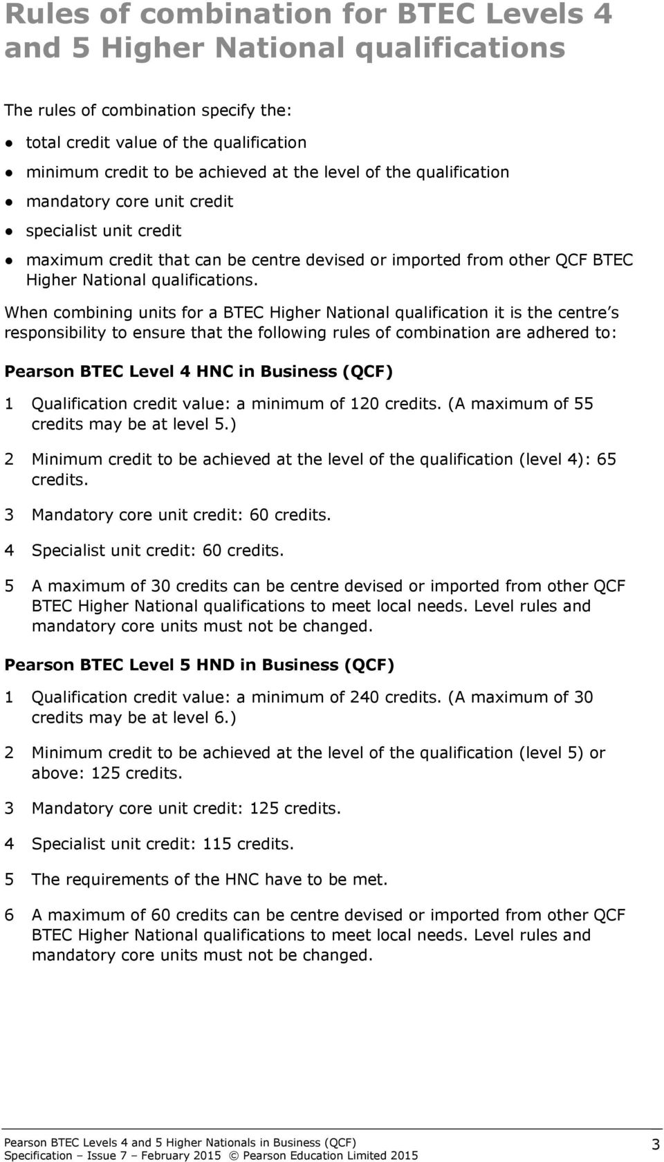 When combining units for a BTEC Higher National qualification it is the centre s responsibility to ensure that the following rules of combination are adhered to: Pearson BTEC Level 4 HNC in Business