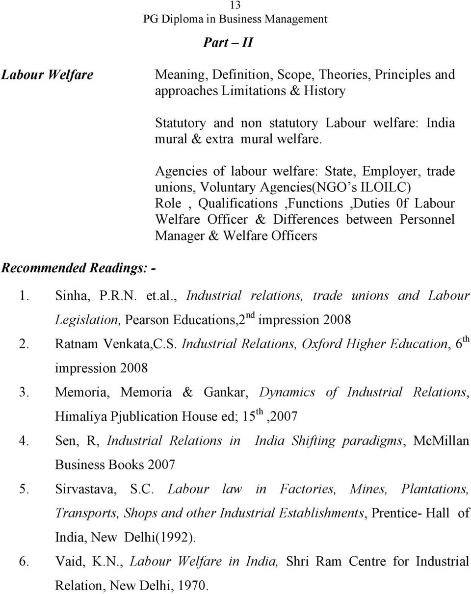 Agencies of labour welfare: State, Employer, trade unions, Voluntary Agencies(NGO s ILOILC) Role, Qualifications,Functions,Duties 0f Labour Welfare Officer & Differences between Personnel Manager &