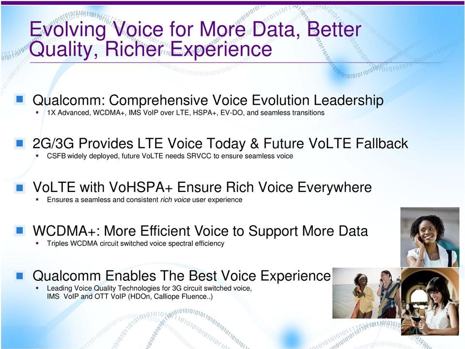 Rich Voice Everywhere Ensures a seamless and consistent rich voice user experience WCDMA+: More Efficient Voice to Support More Data Triples WCDMA circuit switched voice