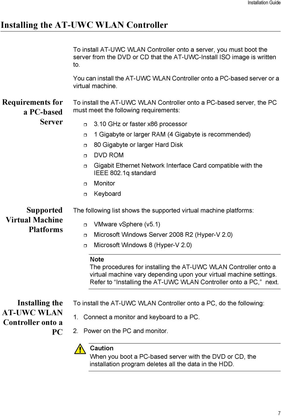 Requirements for a PC-based Server Supported Virtual Machine Platforms To install the AT-UWC WLAN Controller onto a PC-based server, the PC must meet the following requirements: 3.