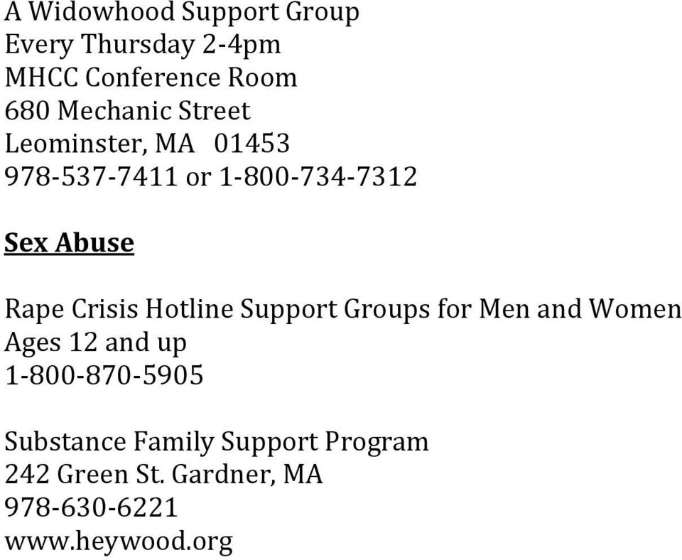 Rape Crisis Hotline Support Groups for Men and Women Ages 12 and up