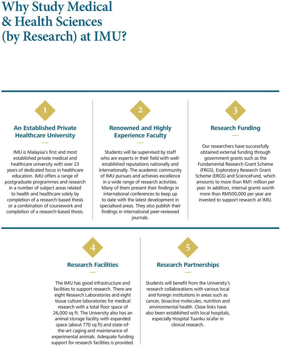 IMU offers a range of postgraduate programmes and research in a number of subject areas related to health and healthcare solely by completion of a research-based thesis or a combination of coursework