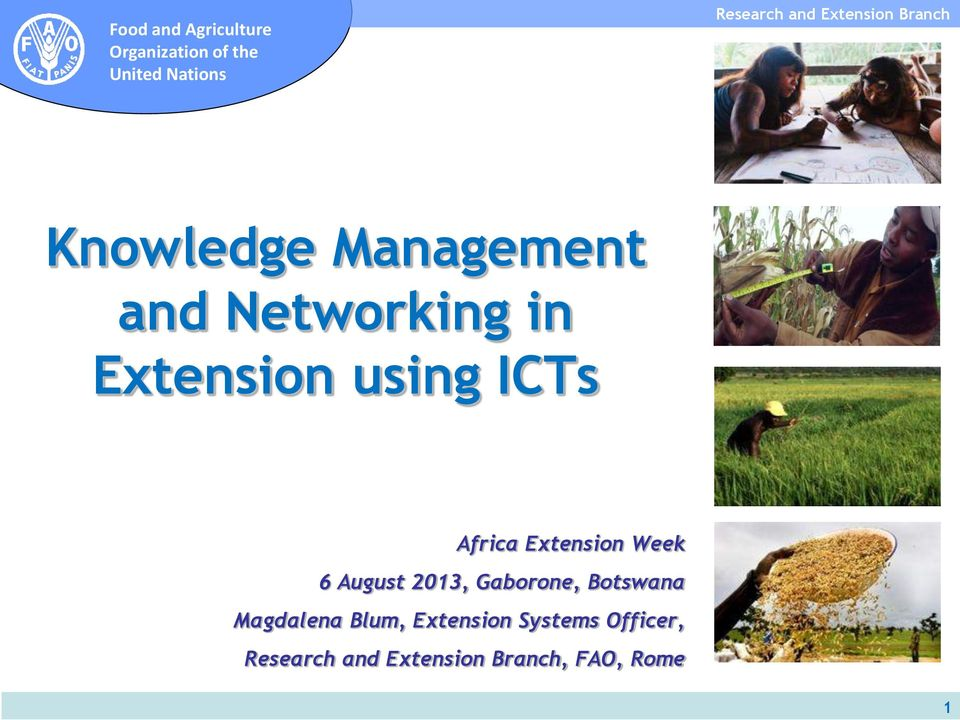 Extension using ICTs Africa Extension Week 6 August 2013,