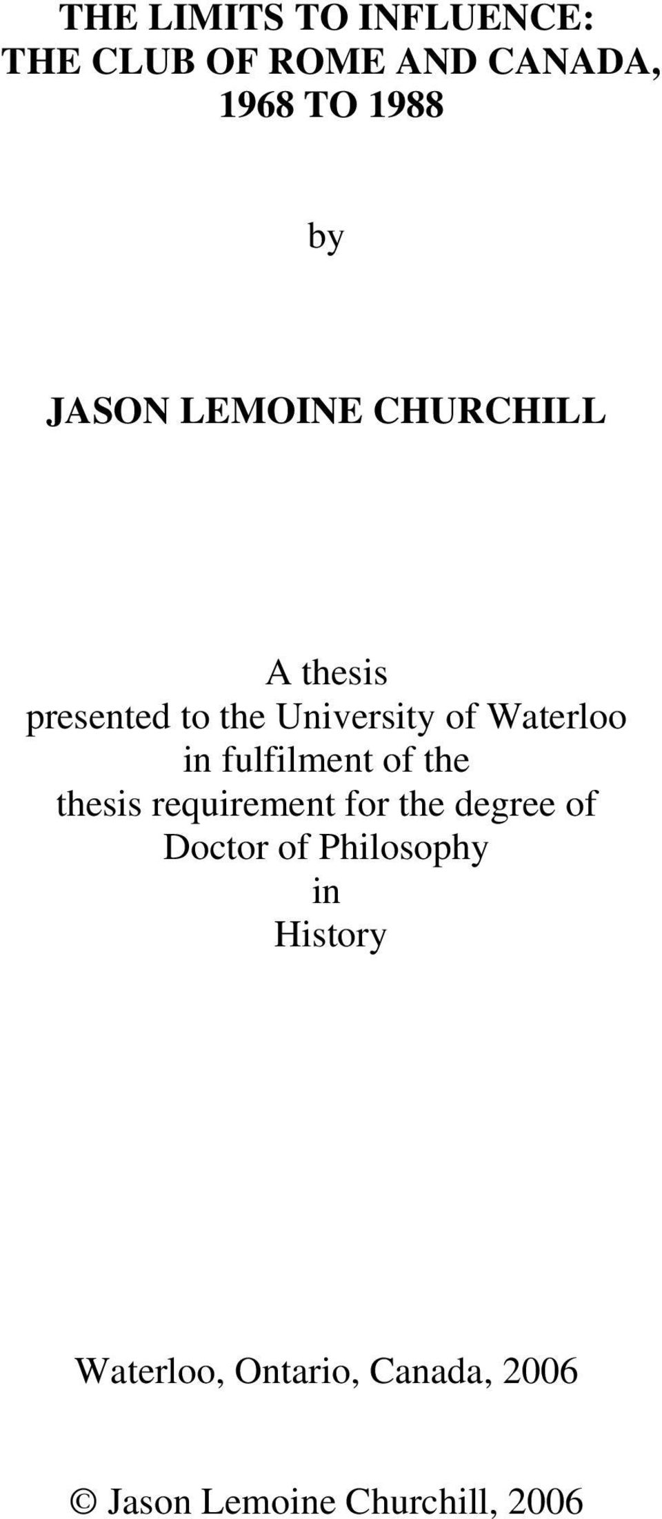 in fulfilment of the thesis requirement for the degree of Doctor of