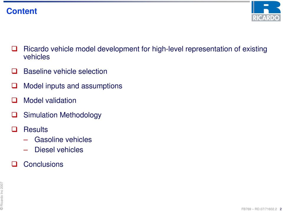 representation of existing vehicles Baseline vehicle selection