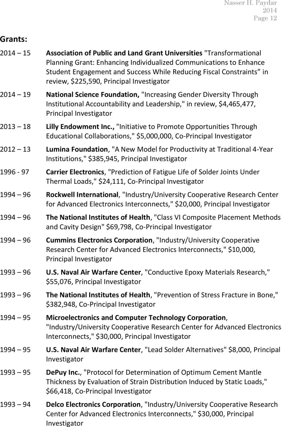 $4,465,477, Principal Investigator 2013 18 Lilly Endowment Inc.