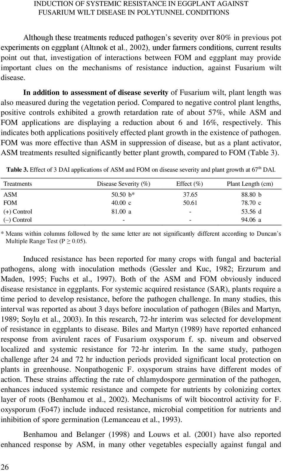 , 2002), under farmers conditions, current results point out that, investigation of interactions between FOM and eggplant may provide important clues on the mechanisms of resistance induction,