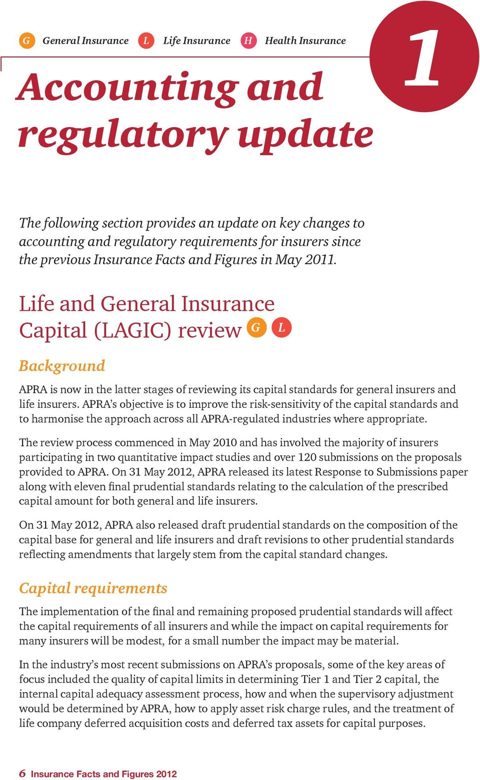 Life and General Insurance Capital (LAGIC) review G L Background APRA is now in the latter stages of reviewing its capital standards for general insurers and life insurers.