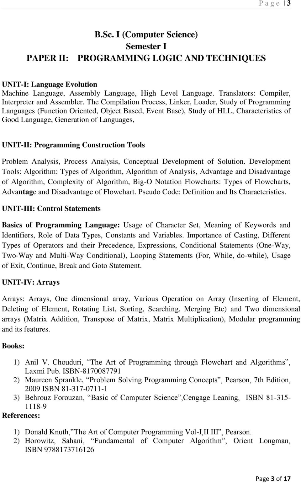 Syllabus of  Bachelor of Science  (Computer Science