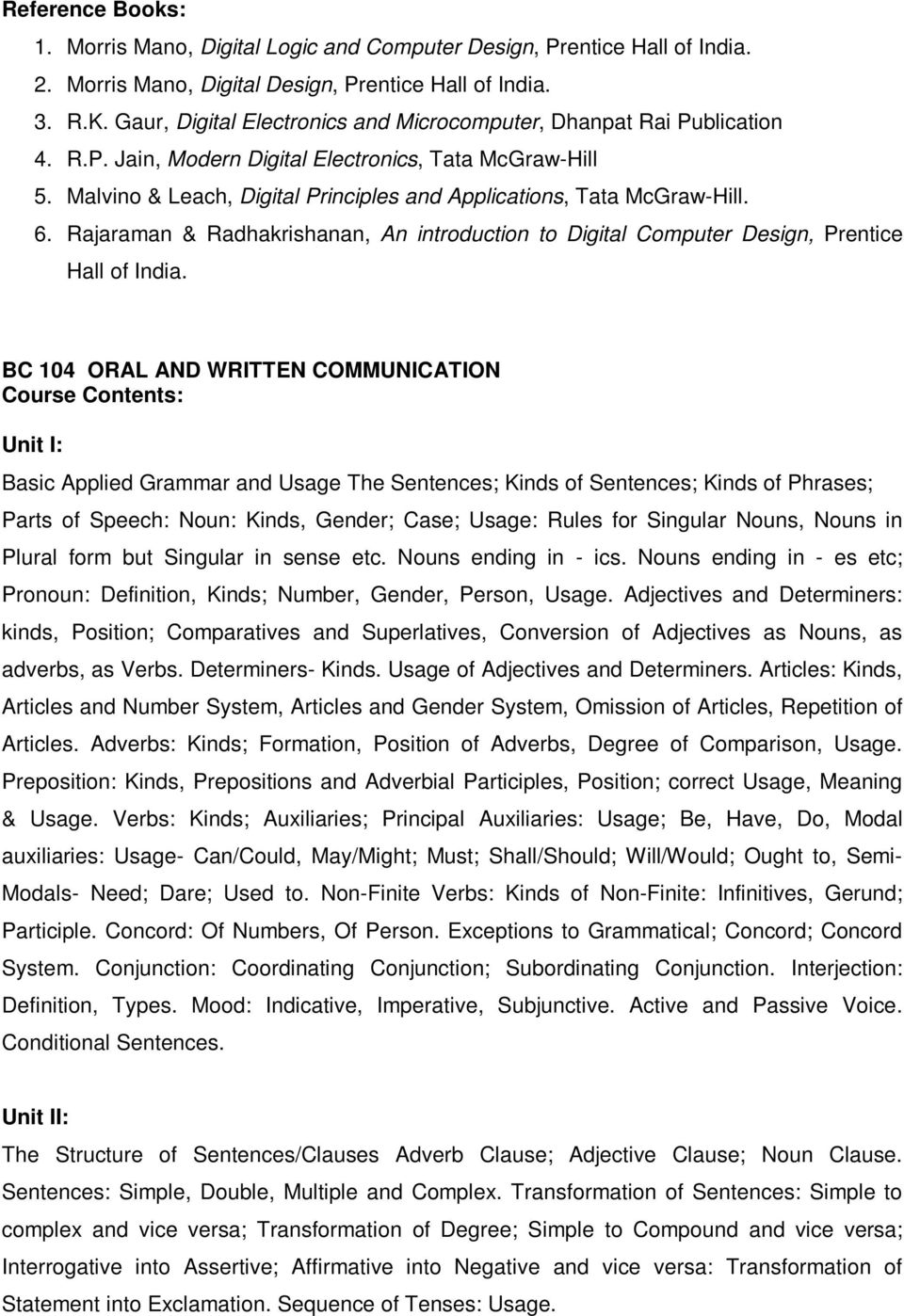 SYLLABUS FOR FIRST YEAR OF MASTER OF COMPUTER APPLICATIONS - PDF