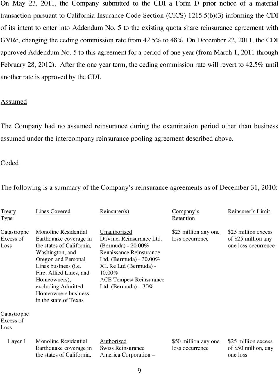 On December 22, 2011, the CDI approved Addendum No. 5 to this agreement for a period of one year (from March 1, 2011 through February 28, 2012).