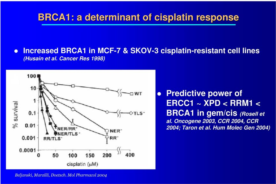 Cancer Res 1998) Predictive power of ERCC1 ~ XPD < RRM1 < BRCA1 in gem/cis (Rosell