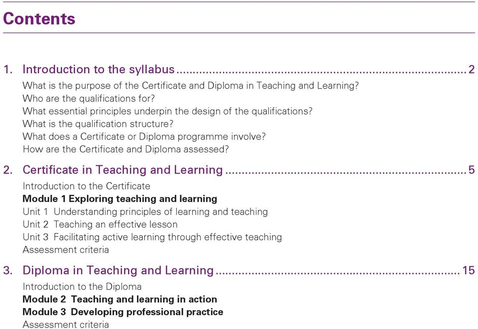 How are the Certificate and Diploma assessed? 2. Certificate in Teaching and Learning.