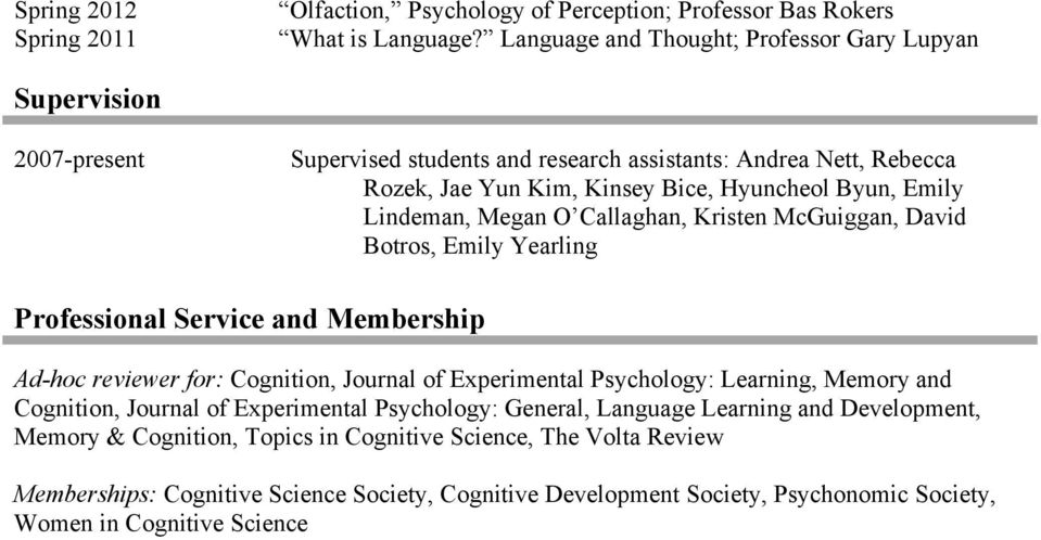 Lindeman, Megan O Callaghan, Kristen McGuiggan, David Botros, Emily Yearling Professional Service and Membership Ad-hoc reviewer for: Cognition, Journal of Experimental Psychology: Learning,