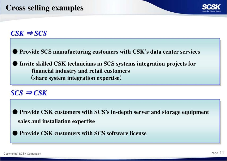 integration expertise) SCS CSK Provide CSK customers with SCS s in-depth server and storage equipment sales
