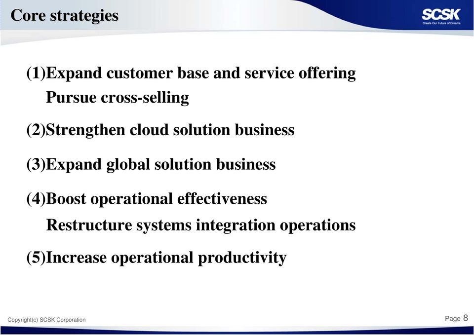 solution business (4)Boost operational effectiveness Restructure systems