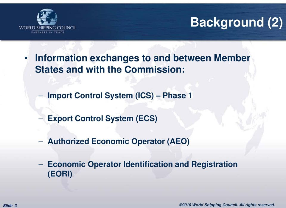 Phase 1 Export Control System (ECS) Authorized Economic