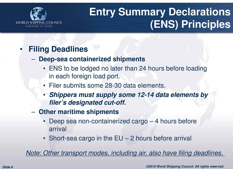 Shippers must supply some 12-14 data elements by filer s designated cut-off.