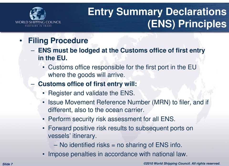 Customs office of first entry will: Register and validate the ENS.