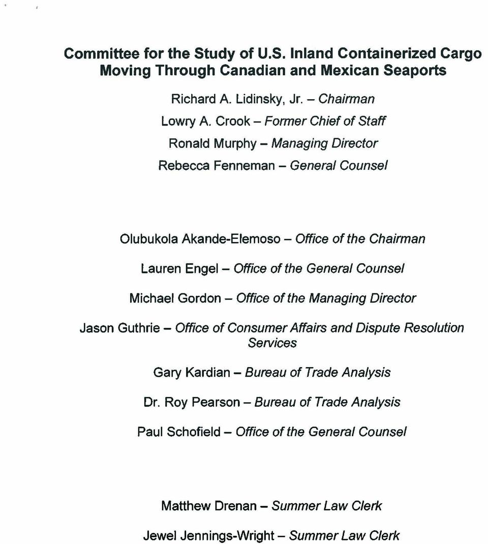 Office of the General Counsel Michael Gordon - Office of the Managing Director Jason Guthrie - Office of Consumer Affairs and Dispute Resolution Services Gary Kardian