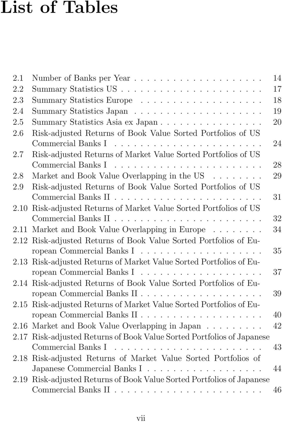 7 Risk-adjusted Returns of Market Value Sorted Portfolios of US Commercial Banks I....................... 28 2.8 Market and Book Value Overlapping in the US........ 29 2.