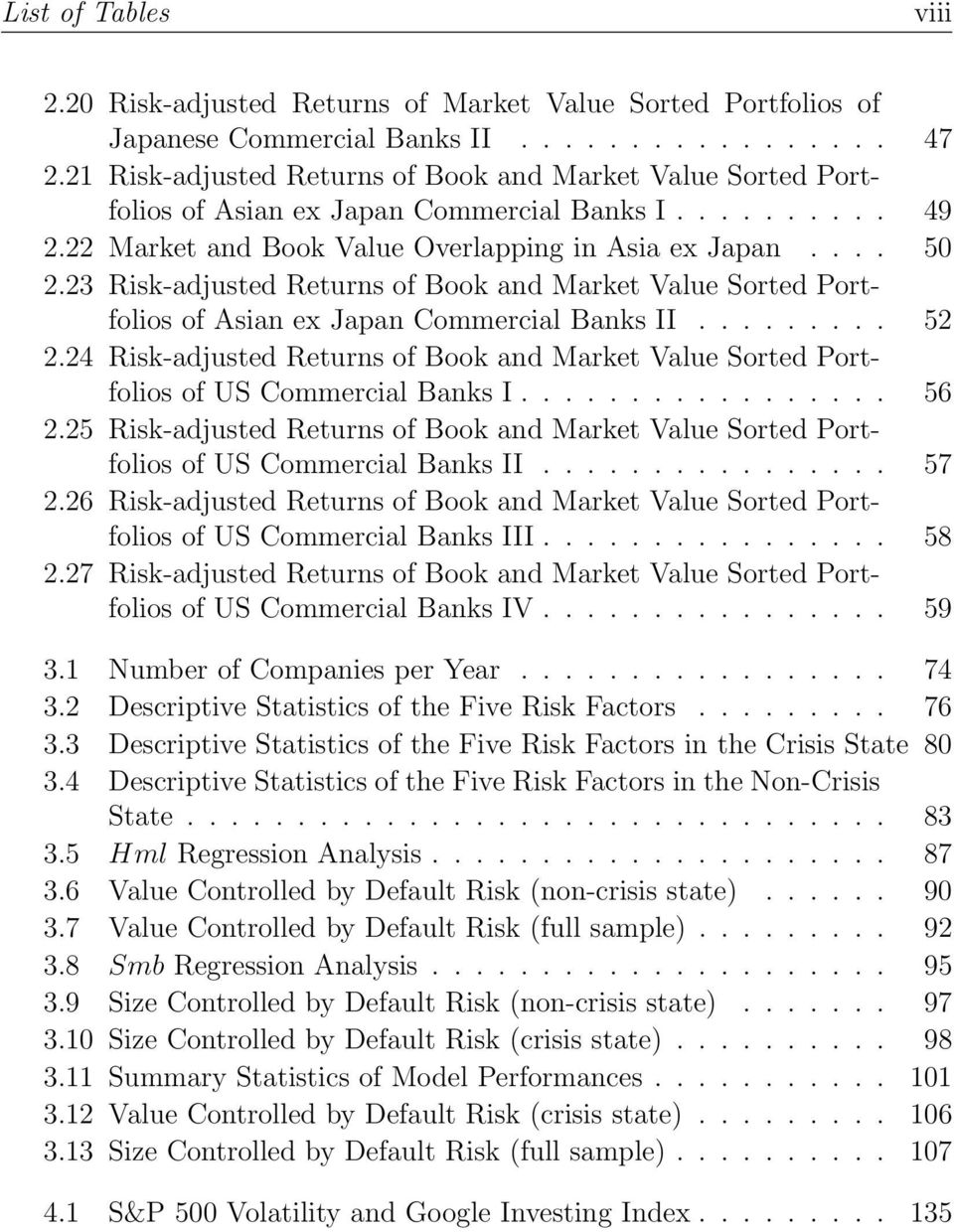 23 Risk-adjusted Returns of Book and Market Value Sorted Portfolios of Asian ex Japan Commercial Banks II......... 52 2.