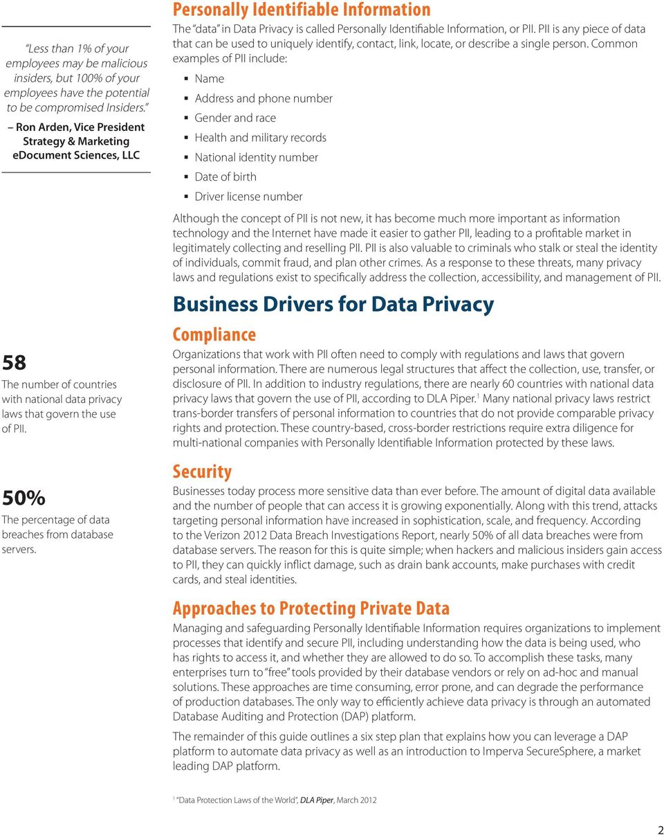 50% The percentage of data breaches from database servers. Personally Identifiable Information The data in Data Privacy is called Personally Identifiable Information, or PII.