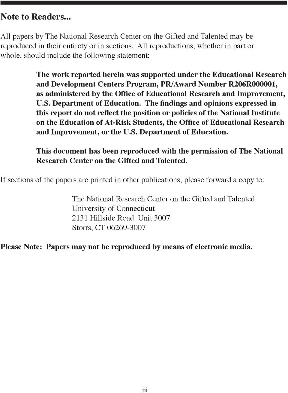 Number R206R000001, as administered by the Office of Educational Research and Improvement, U.S. Department of Education.