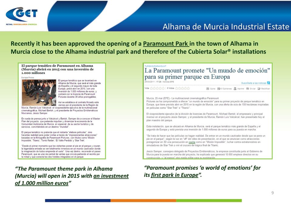 Solar installations The Paramount theme park in Alhama (Murcia) will open in 2015 with an