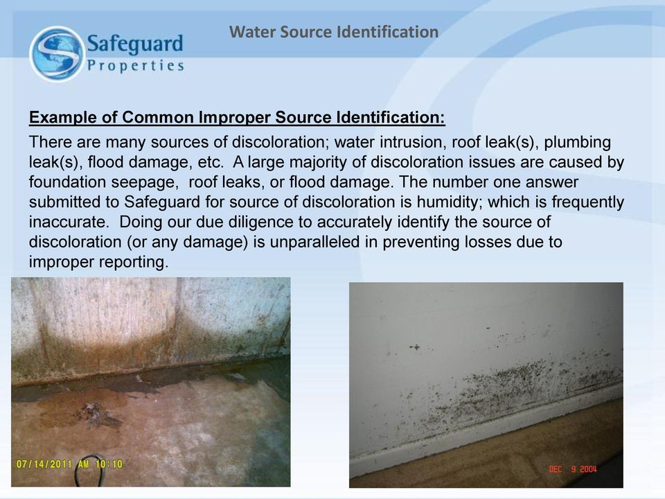 A large majority of discoloration issues are caused by foundation seepage, roof leaks, or flood damage.