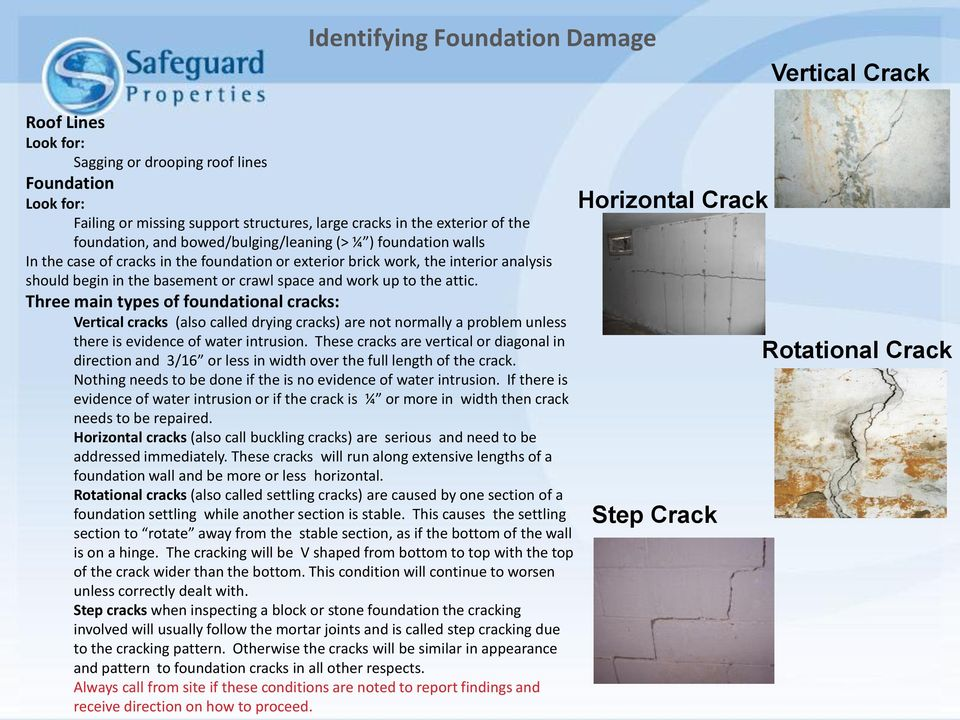 work up to the attic. Three main types of foundational cracks: Vertical cracks (also called drying cracks) are not normally a problem unless there is evidence of water intrusion.