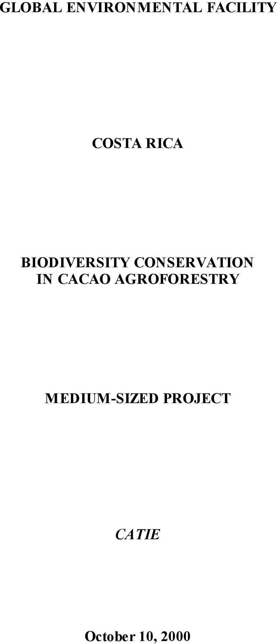 CONSERVATION IN CACAO