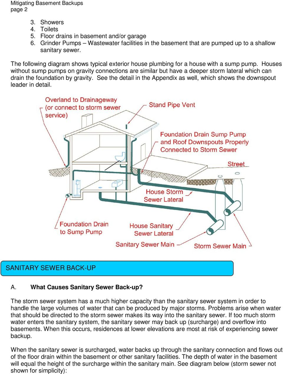 Houses without sump pumps on gravity connections are similar but have a deeper storm lateral which can drain the foundation by gravity.