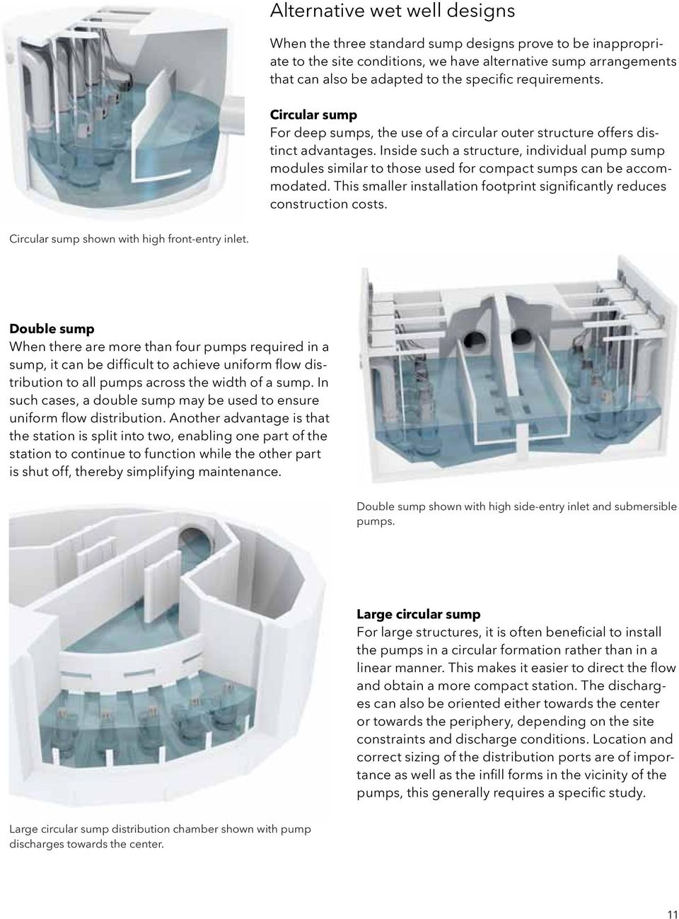 Inside such a structure, individual pump sump modules similar to those used for compact sumps can be accommodated. This smaller installation footprint significantly reduces construction costs.