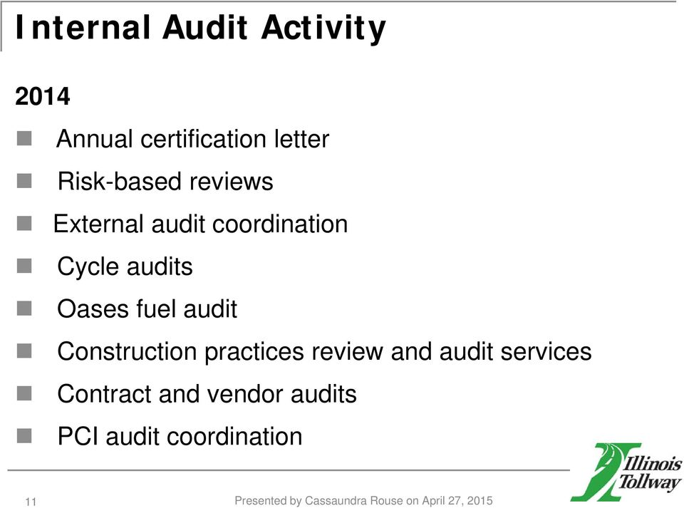 Construction practices review and audit services Contract and vendor