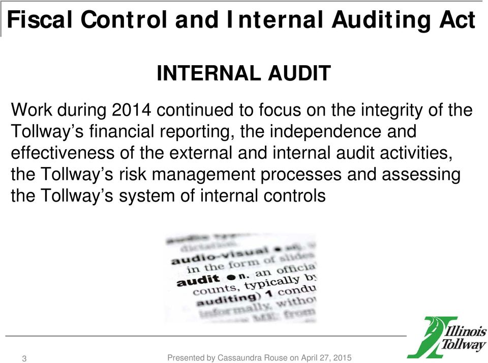 the external and internal audit activities, the Tollway s risk management processes and